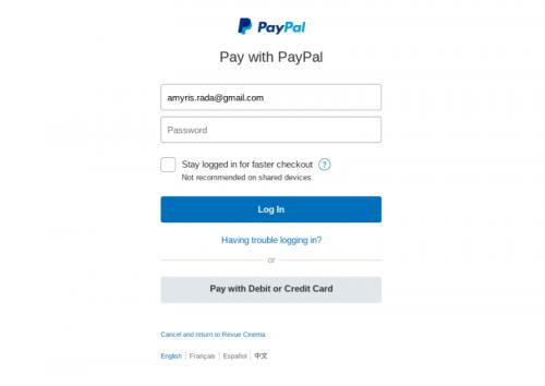 online ticket payment screen